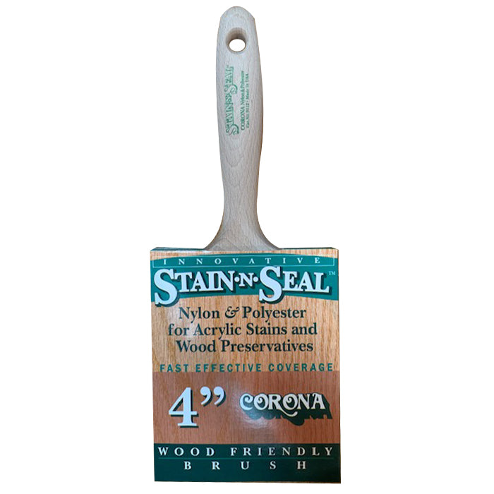 "Corona Stain-N-Seal 4"" stain brush in cover, available at Aboff's in Long Island and New York."