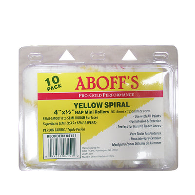 "Aboff's Yellow Spiral 4"" x 1/2"" 10 Pack Paint Rollers, available at Aboff's in New York and Long Island."
