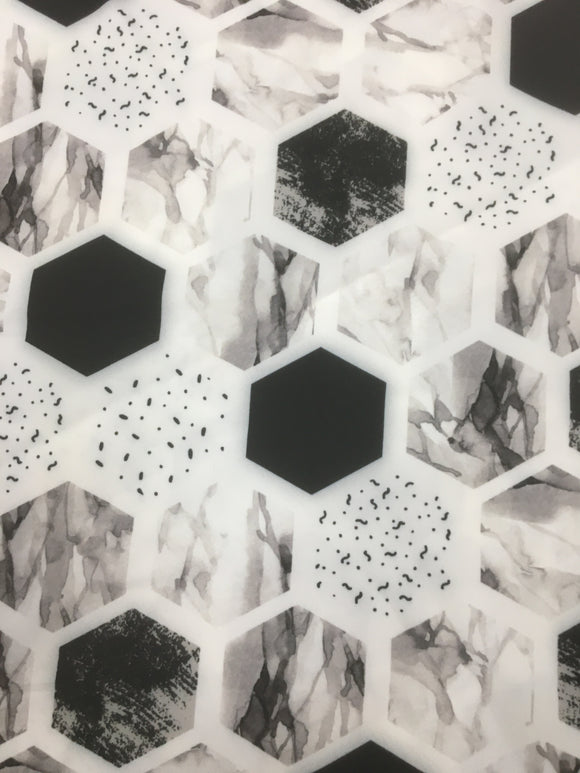 Stretch Woven  - Monochrome Hexagons