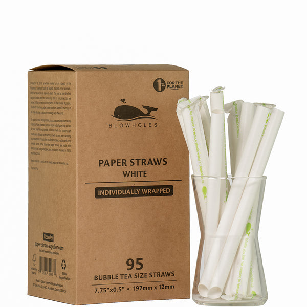 Blowholes Bubble Tea Size Paper Straws - Individually Wrapped