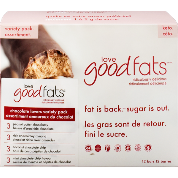 love good fats Variety Pack Keto Bars [12-Pack]