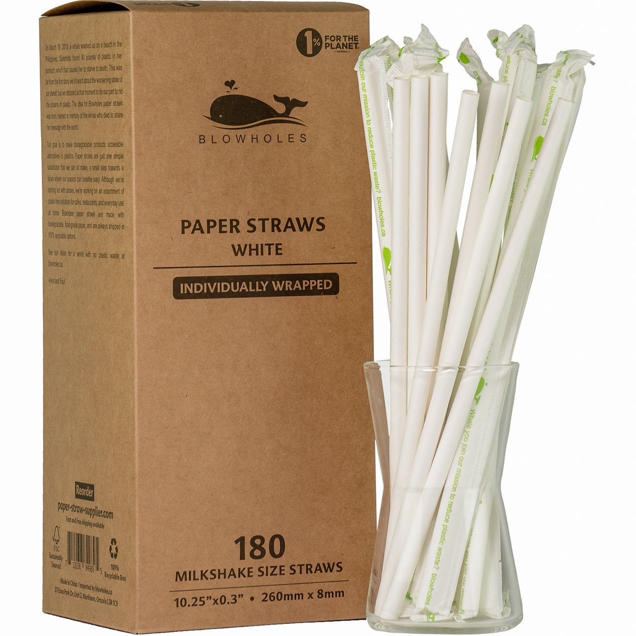 Blowholes Milkshake Size Paper Straws - Individually Wrapped