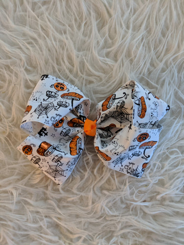 White Halloween Bow with Orange and Black Accents