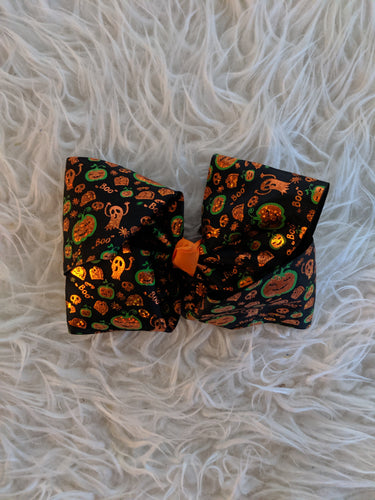 Black Halloween Bow with Orange and Green Accents