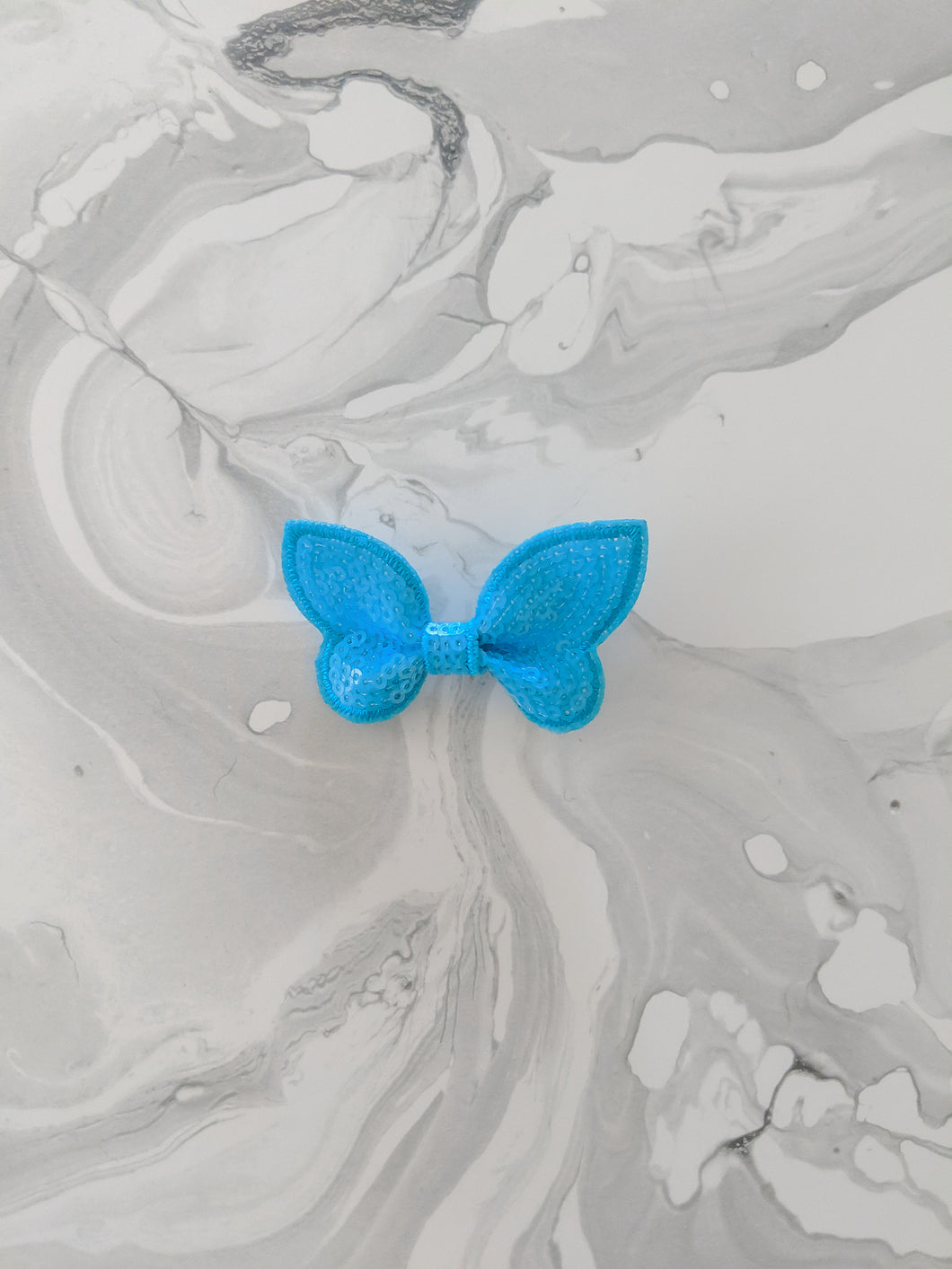Sky Blue 2 Inch Ribbon Sequin Hair Bow