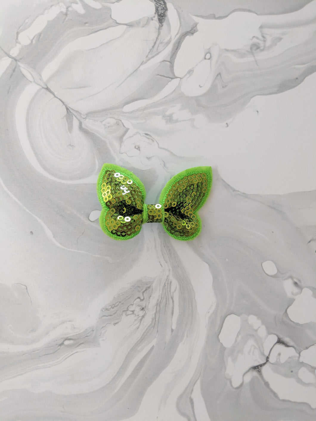 Lime Green 2 Inch Ribbon Sequin Hair Bow