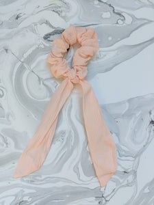 Blush Linen Ribbon Hair Scrunchie