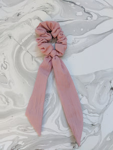 Dusty Rose Linen Ribbon Hair Scrunchie