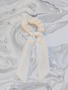White Linen Ribbon Hair Scrunchie