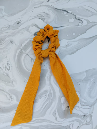 Mustard Yellow Linen Ribbon Hair Scrunchie