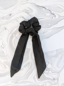 Jet Black Linen Ribbon Hair Scrunchie