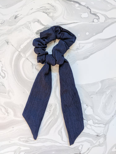 Navy Blue Linen Ribbon Hair Scrunchie