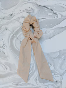 Taupe Linen Ribbon Hair Scrunchie