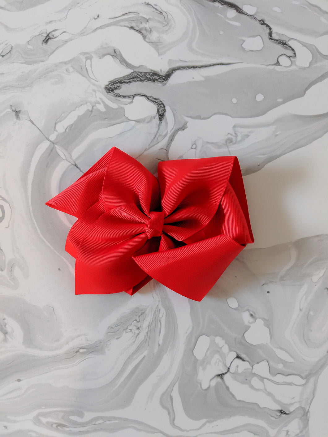 Bright Red 6 Inch Ribbon Hair Bow