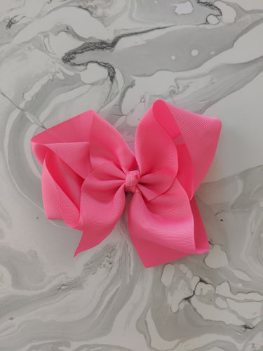 Bright Pink 6 Inch Ribbon Hair Bow