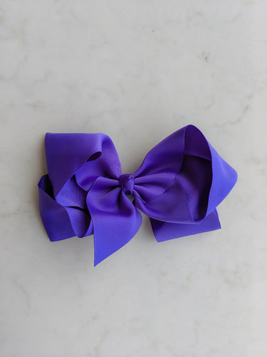 Royal Purple 6 Inch Ribbon Hair Bow
