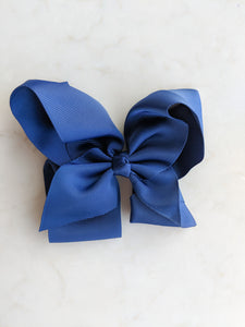 Navy Blue 6 Inch Ribbon Hair Bow