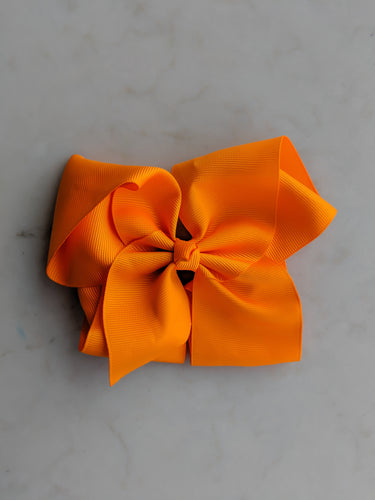 Orange 6 Inch Ribbon Hair Bow