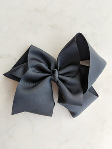 Jet Black 6 Inch Ribbon Hair Bow