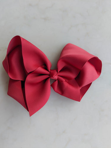 Burgundy Red 6 Inch Ribbon Hair Bow