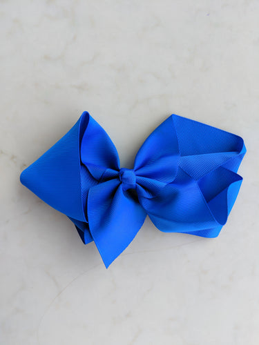 Cobalt Blue 6 Inch Ribbon Hair Bow