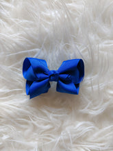 Load image into Gallery viewer, Rich Blue 3 Inch Ribbon Hair Bow