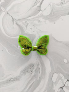 Lime Green 2-Inch Sequin Hair Bow