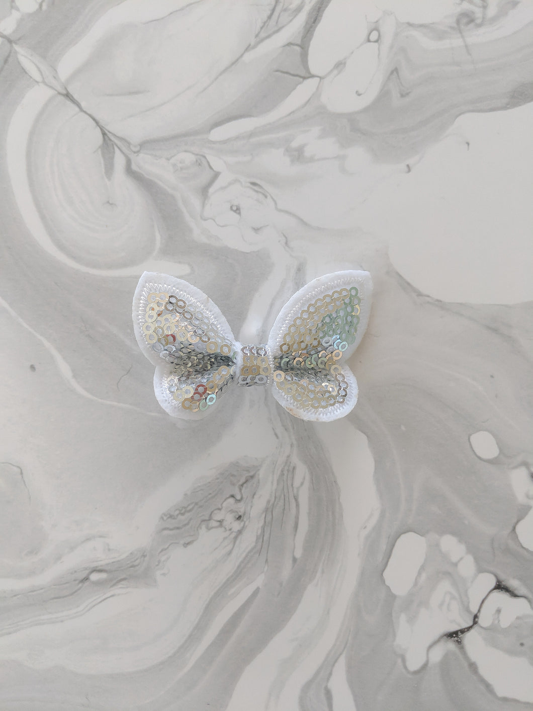 Light Silver 2 Inch Sequin Hair Bow