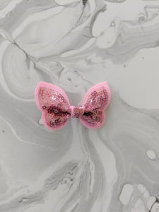 Pastel Pink 2-Inch Sequin Hair Bow