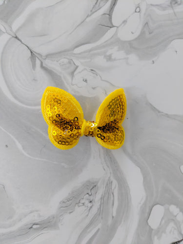 Marigold Yellow 2-Inch Sequin Hair Bow