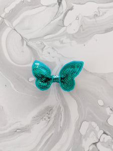 Turquoise 2-Inch Sequin Hair Bow
