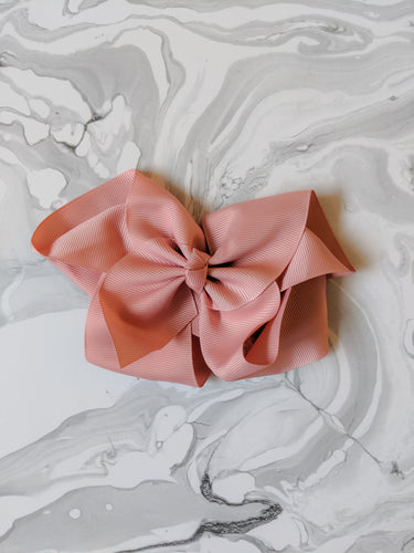 Dusty Rose 6 Inch Ribbon Hair Bow