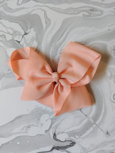 Coral 6 Inch Ribbon Hair Bow