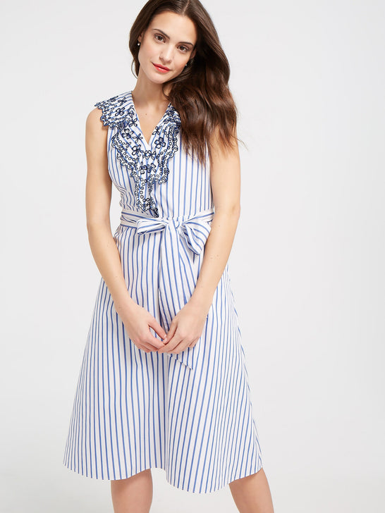 Collection Lattice Stripe Ruffle Eyelet Dress
