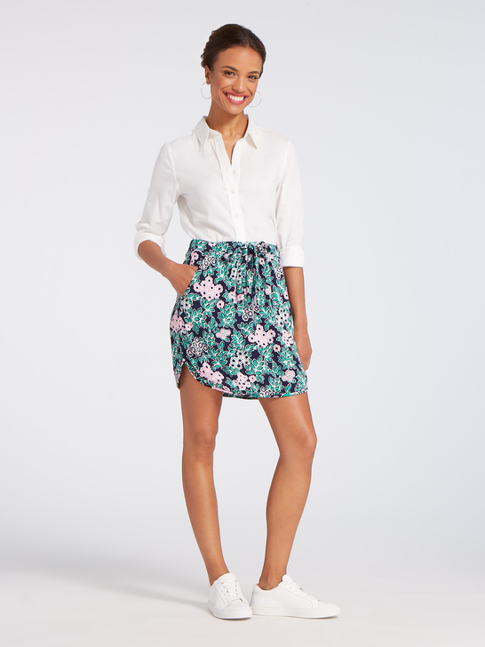 Tropical Floral Drawstring Mini Skirt*