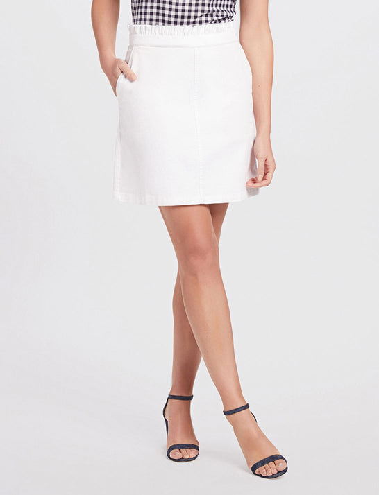 Ruffle Waist White Denim Skirt