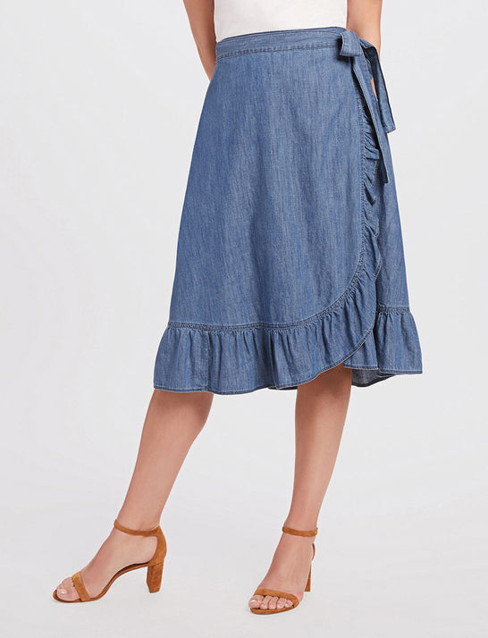 Chambray Wrap Skirt