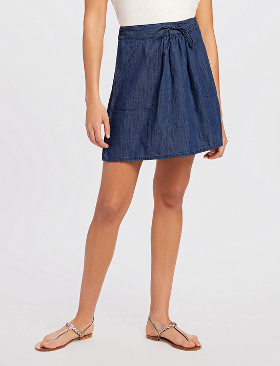 Pull On Chambray Skirt