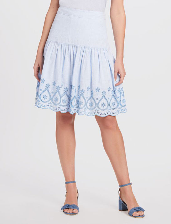 Embroidered Scallop Hem Skirt