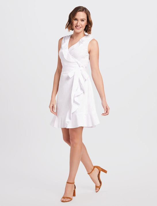 Ruffle Wrap Jacquard Dress