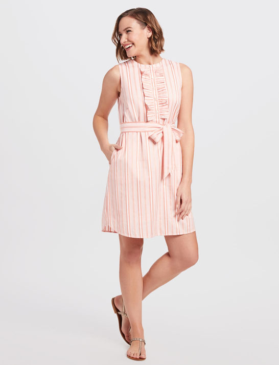 Belted Sleeveless Ruffle Stripe Shift Dress