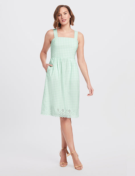 0eec42852b56 Embroidered Gingham Dress Embroidered ...