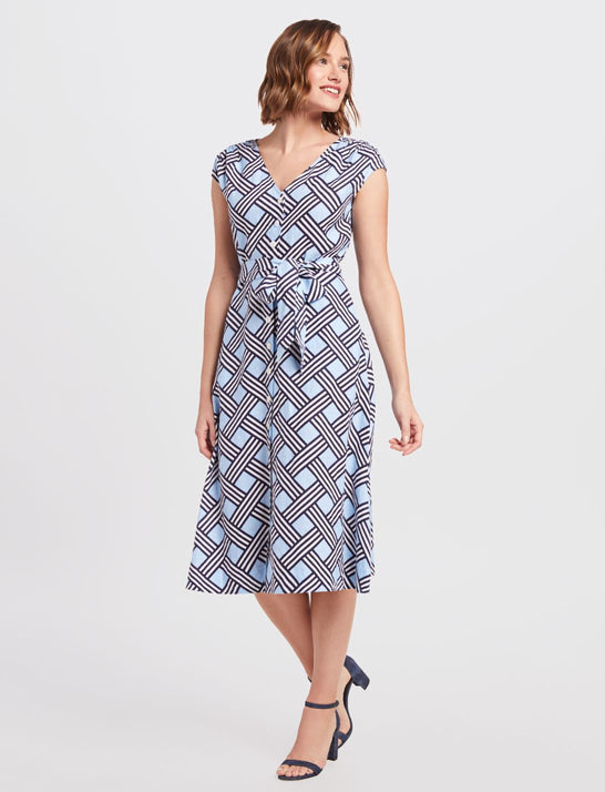 Lattice V-Neck Button Front Dress