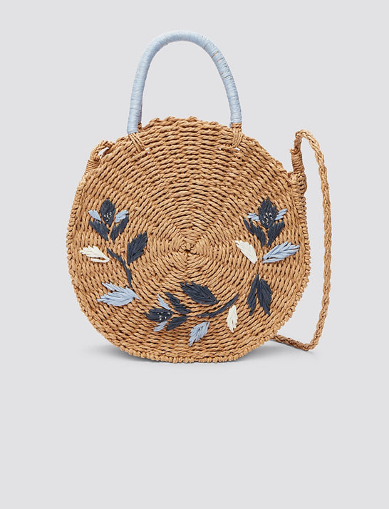Straw Embroidered Dot Bag