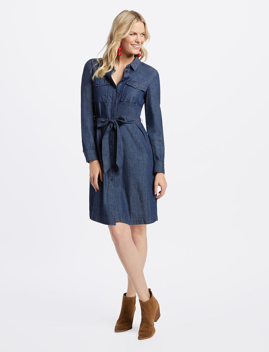 Belted Chambray Shirtdress