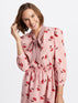 Floral Tie Neck Peasant Dress