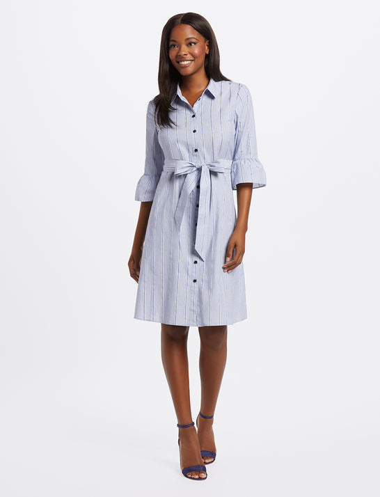 Striped Ruffle Sleeve Shirtdress