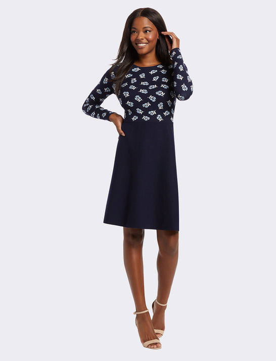 Floral A-Line Sweater Dress