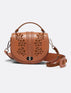 Leather Embellished Round Saddle Bag