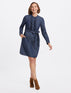 Chambray Ruffle Placket Shift Dress